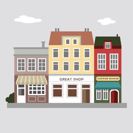 Sada roztomilých barevných obchodů, domů, městské vektorové ilustrace pozadí, vintage výhled na ulici, ploché konstrukci