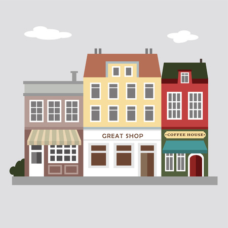 coffee shop: Set of cute colorful stores, houses, urban vector illustration background, vintage street view, flat design