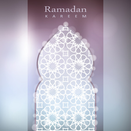hari raya: Ornamental mosque window with bokeh lights, vector illustration background, card, invitation for muslim community holy month Ramadan Kareem Illustration
