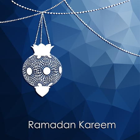 Modern low poly blue background with arabic lanterns and decorative string of beads, vector illustration for for muslim community holy month Ramadan Kareem Vector