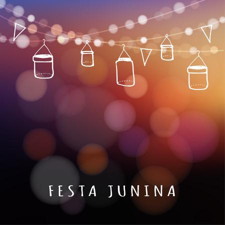 Brazilská června strana, léto oslava nebo v létě garden party, vektorové ilustrace pozadí s věncem světel, skleněných lahví lucerny a vlajek