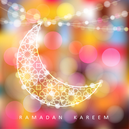 multicolor lantern: Ornamental moon with bokeh lights, vector illustration background, card, invitation for muslim community holy month Ramadan Kareem Illustration