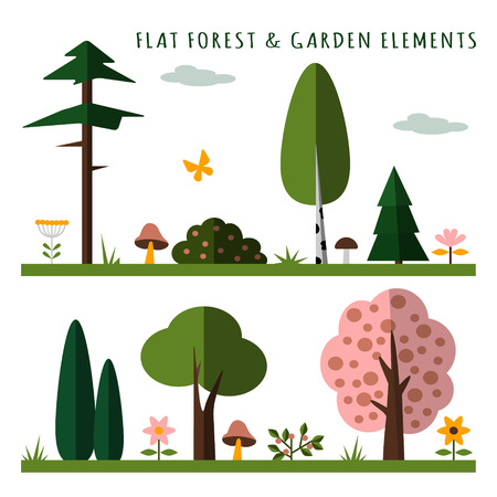 Set of forest and garden elements, flat design, isolated vector objects for web or game Vector