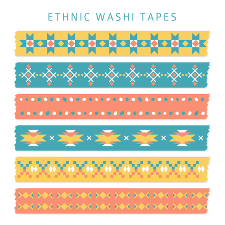 Set of washi tapes with trendy Aztec, Mexican or Navajo patterns, ethnic vector illustration backgrounds