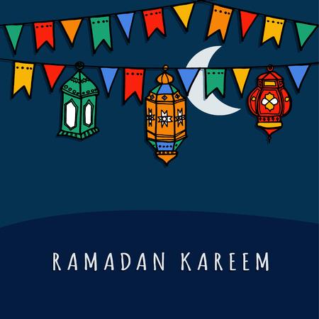 Hand drawn arabic lanterns with decorative flags, vector illustration background for muslim community holy month Ramadan Kareem