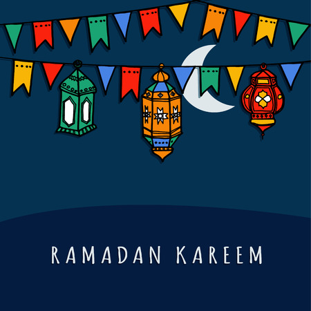 Hand drawn arabic lanterns with decorative flags, vector illustration background for muslim community holy month Ramadan Kareem