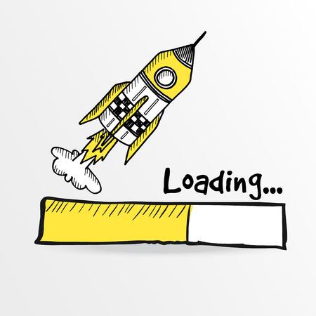 Loading bar with a doodle rocket, sketch vector illustration