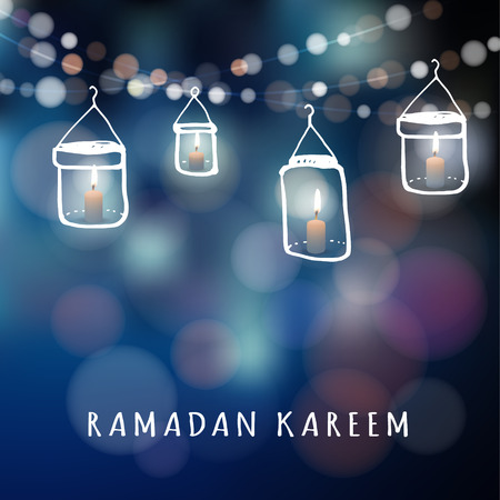 hangings: Illuminated jar lanterns with candles and lights, vector illustration background for muslim community holy month Ramadan Kareem