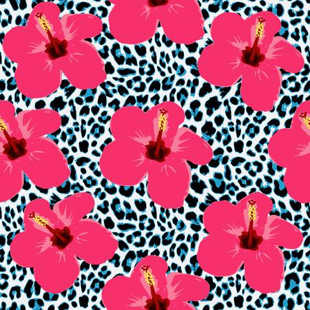 animal print: De fondo sin fisuras tropical con flores de hibisco y patrón de leopardo, exótico ilustración vectorial