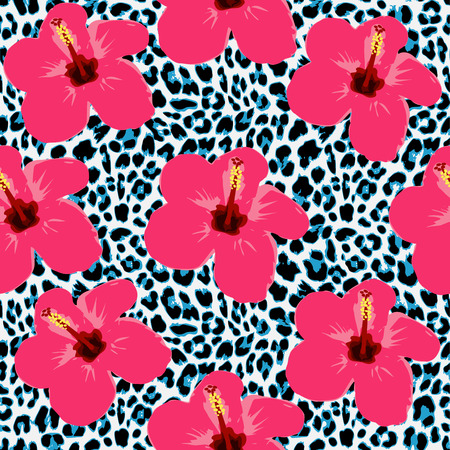 fur: Tropical seamless background with hibiscus flowers and leopard pattern, exotic vector illustration Illustration