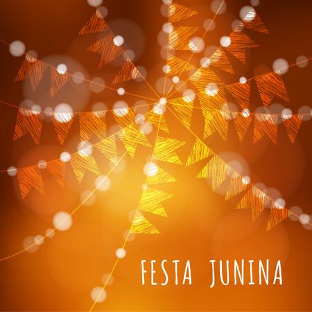 Brazilian Juni Partei, Vektor-Illustration Hintergrund mit Kranz von Lichtern und Fahnen Standard-Bild - 42122532