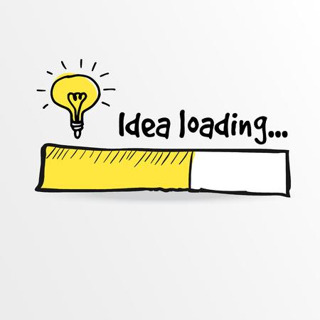 Loading bar s žárovkou, kreativitu, velkou myšlenku, inovace koncept, vektorové ilustrace skica
