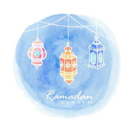 手描きアラビア語ランタン、水彩背景ベクトル イスラム教徒のコミュニティの聖なる月ラマダン カリームのイラスト  イラスト・ベクター素材