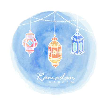 Hand drawn arabic lanterns, watercolor background, vector illustration for muslim community holy month Ramadan Kareem Ilustracja