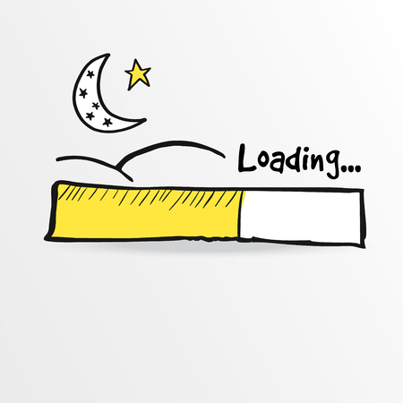 Loading bar with moon and star, vector illustration sketch for holy month Ramadan Иллюстрация