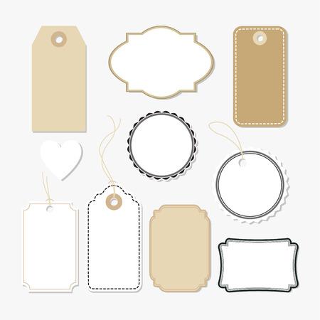 carton: Conjunto de varias etiquetas en blanco de papel, etiquetas, elementos vectoriales aislados, diseño plano
