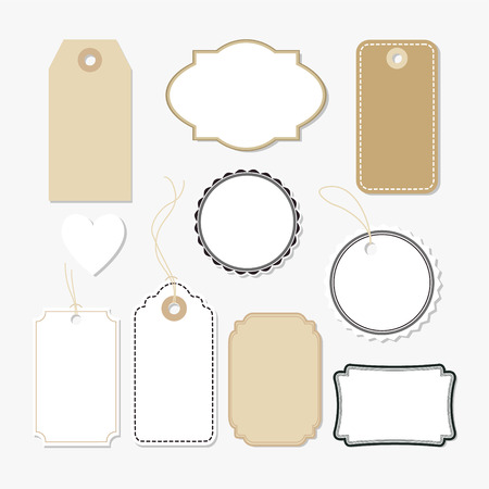 Set of various blank paper tags, labels, isolated vector elements, flat design Vettoriali
