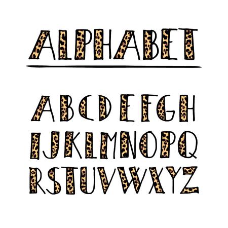 animal print: Conjunto de moda manuscrita alfabeto, diseño del patrón de leopardo, aislado ilustración vectorial