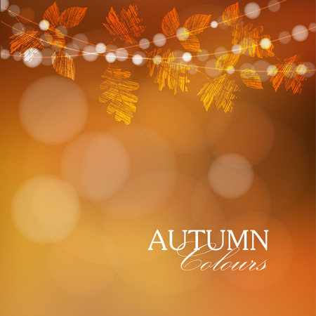 golden border: Autumn, fall background with maple, oak leaves and lights, vector illustration