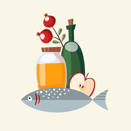hashana: Rosh Hashana greeting card, invitation with honey, fish and fruit, vector illustration, flat design Illustration