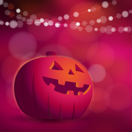 freaky: Halloween or Dios de los muertos greeting card, invitation with freaky pumpkin and lights, vector illustration