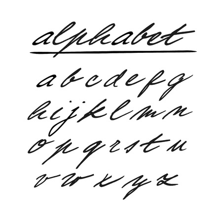 case: Hand drawn vector alphabet, font, isolated lower case letters written with marker or ink Illustration