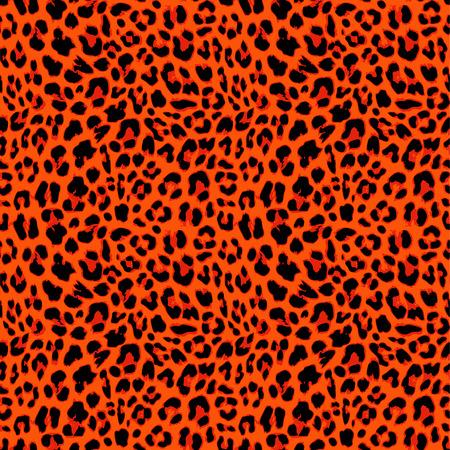 Leopard seamless pattern design in orange autumnal color, vector illustration background Illustration