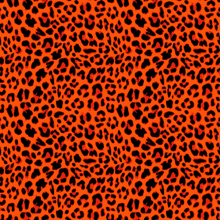 Leopard seamless pattern design in orange autumnal color, vector illustration background Illustration