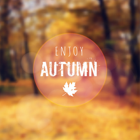 Blurred retro card with autumn, fall forest, vector background Illustration