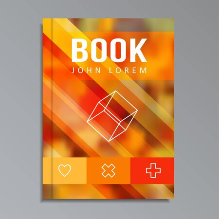 motion modern: Modern book, brochure cover with blurred background and line icons, motion concept, autumnal colours, vector illustration Illustration