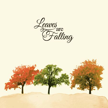 fall trees: Watercolor landscape with colorful trees, autumnal, fall concept, artistic background, vector illustration