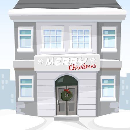 house building: Christmas greeting card with old house and snowy urban landscape, vector illustration