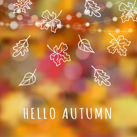 Autumn, fall background with hand drawn leaves and blurred background, vector illustration  イラスト・ベクター素材