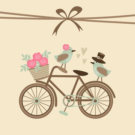 Casamento bonito retro ou cartão de aniversário, o convite com bicicleta e pássaros, ilustração vetorial fundo