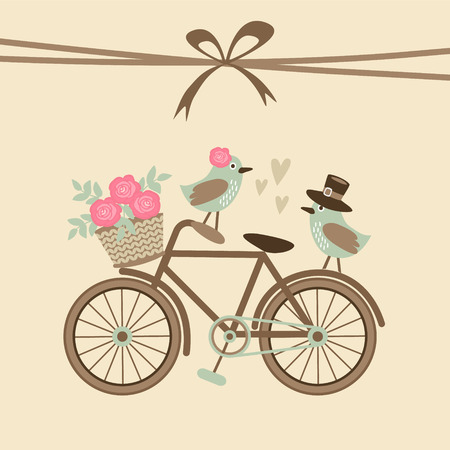 spring season: Cute retro wedding or birthday card, invitation with bicycle and birds, vector illustration background