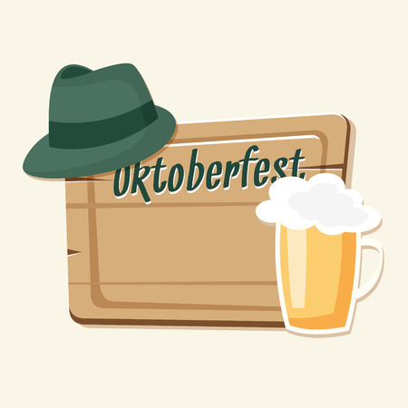 beer card: Oktoberfest card, invitation with beer, green hat and wooden board, vector illustration background Illustration