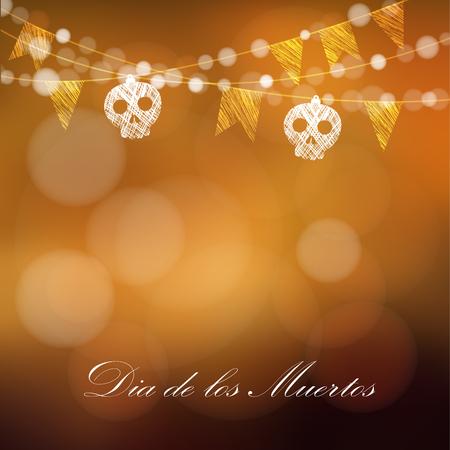 morte: Día de los Muertos (dia dos mortos) ou cartão de Dia das Bruxas, convite com guirlanda de luzes, sculls e bandeiras do partido, ilustração vetorial fundo