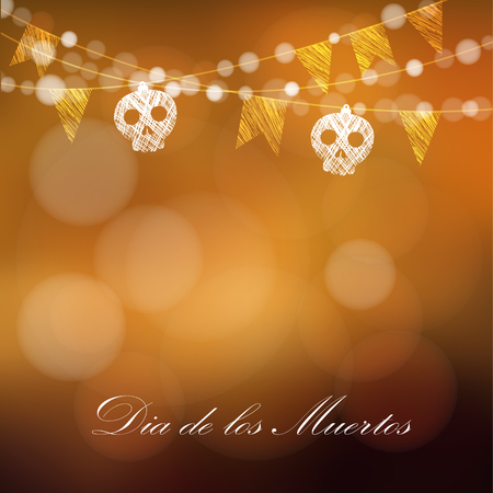 dia de muertos: Día de los Muertos (día de los muertos) o tarjeta de Halloween, invitación con guirnaldas de luces, sculls y banderas del partido, ilustración vectorial