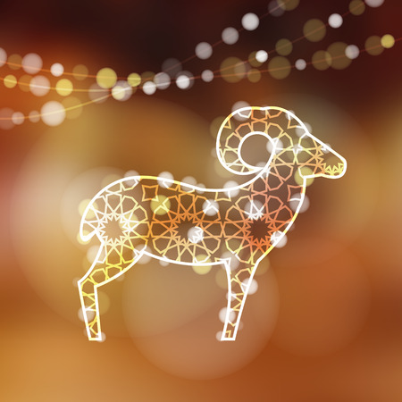 Greeting card with silhouette of ornamental sheep illuminated by lights, vector illustration background for Eid Ul Adha holiday