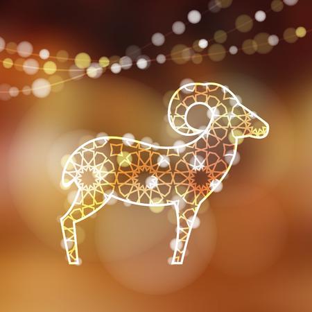 pecora: Biglietto di auguri con silhouette di pecore ornamentale illuminato da luci, illustrazione vettoriale per la festa di Eid Ul Adha
