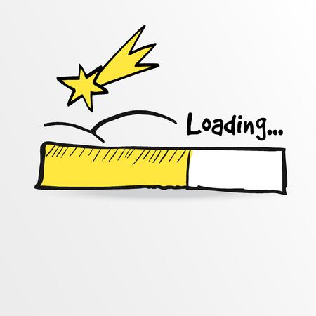 falling star: Loading bar with falling star, comet, christmas concept, vector illustration sketch Illustration