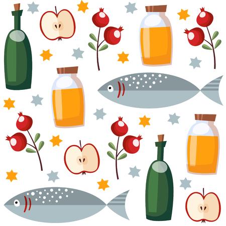 hashana: Rosh Hashana seamless pattern with honey, fish, fruit and stars, vector illustration background, flat design