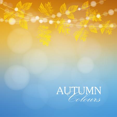 amarillo: Otoño, otoño de fondo con arce y hojas de roble y luces, ilustración vectorial