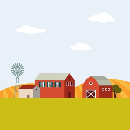 Farm landscape, flat design, vector illustration background