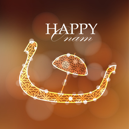 moderm: Happy onam card, invitation with decorative silhouette of snake boat with parasol, vector illustration background