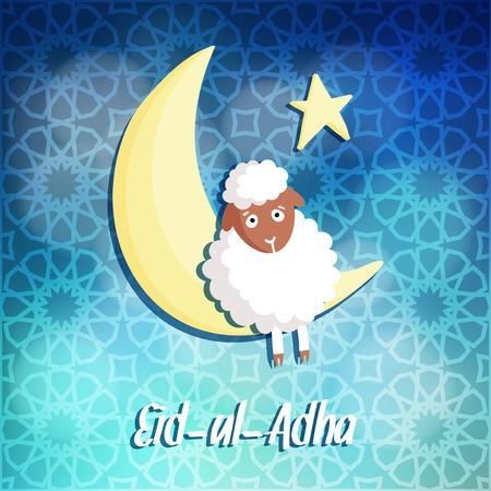 sacrificio: Eid-ul-Adha tarjeta de felicitaci�n con las ovejas, la luna y las estrellas, festival de la comunidad musulmana del sacrificio Vectores