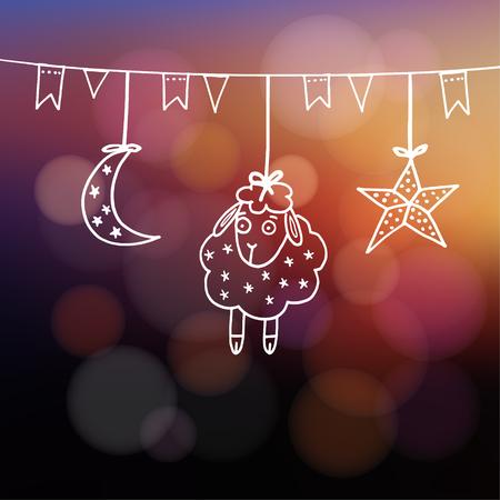 pecora: Eid-ul-Adha biglietto di auguri con le pecore, la luna, stelle e bandiere, festival della comunità musulmana del sacrificio