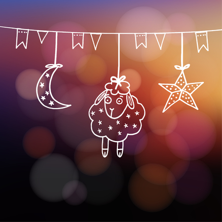 sacrificio: Eid-ul-Adha tarjeta de felicitación con las ovejas, luna, estrellas y banderas, festival de la comunidad musulmana del sacrificio