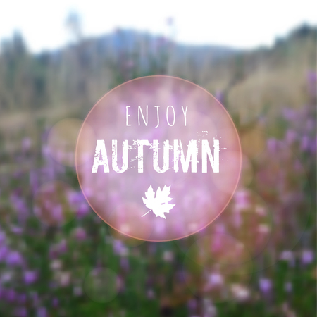 heather: Blurred autumn retro card with heath, moor landscape, vector background