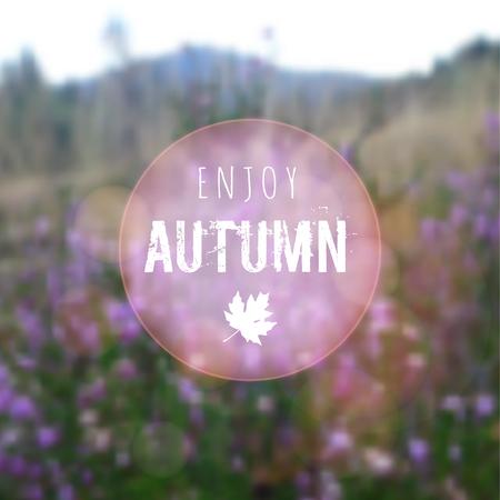 moor: Blurred autumn retro card with heath, moor landscape, vector background